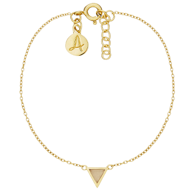 14kt gold plated bracelet with golden triangle Pendant and Engraved Letter Pendant