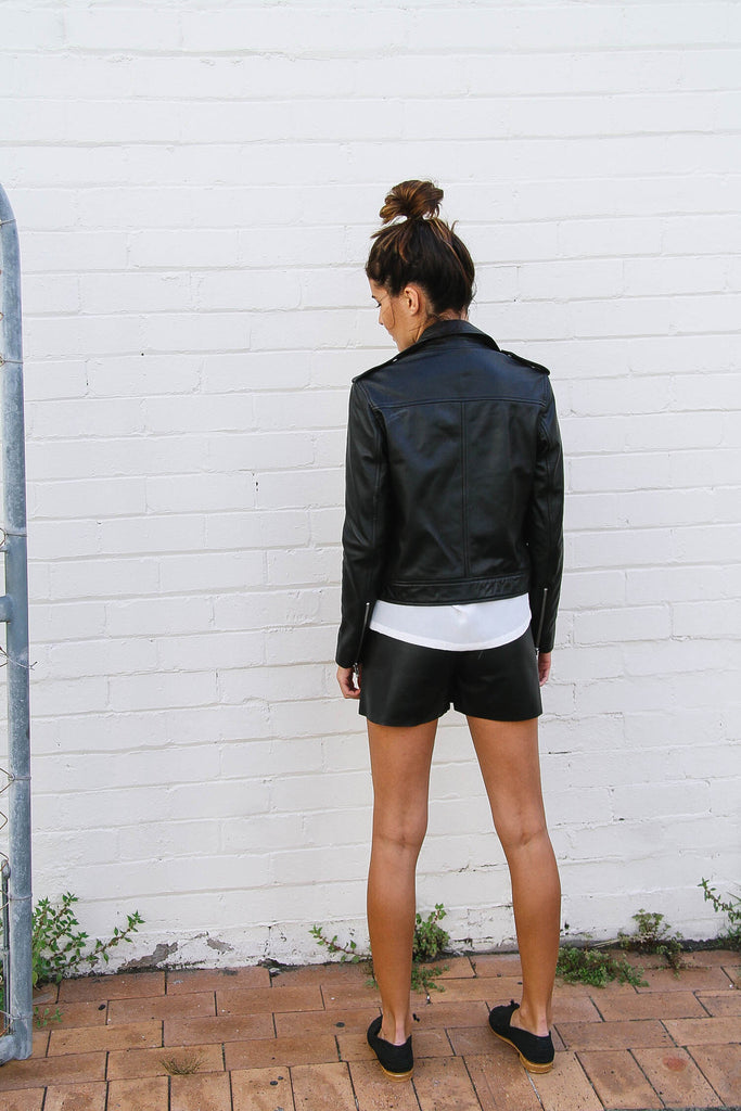 Bella Leather Shorts with an Elastic Waist Fit