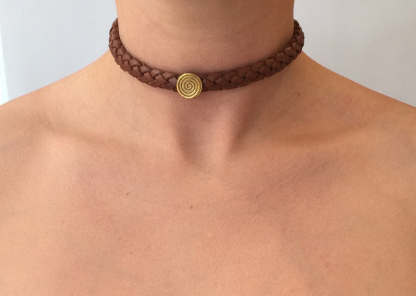 Brown Leather Plait Choker