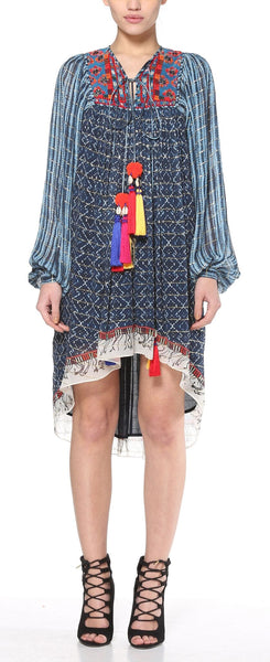 Azure Blue & Red Tunic Dress - HEMANT & NANDITA