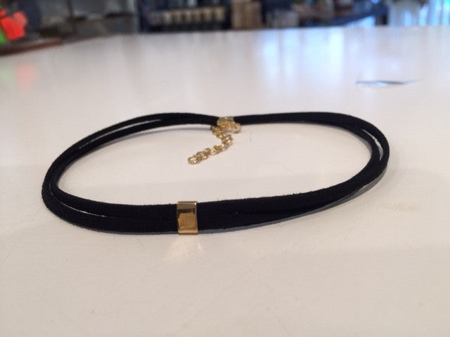 Leather Choker- Suede with bar