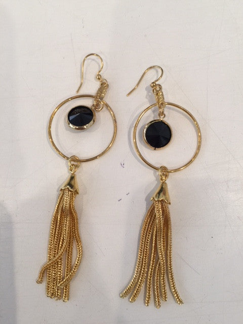 sterling plated Costume Earrings- Detailed distress w/ Black stone and Tassel