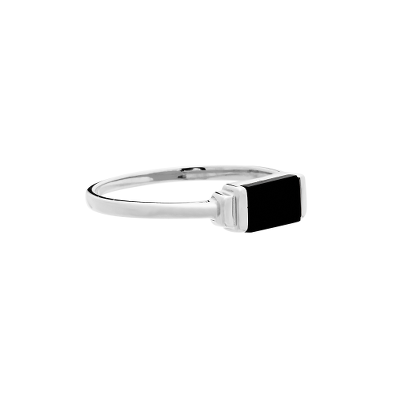Fine Collection Ring- Silver Rectangle Stone