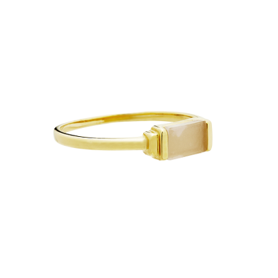 Fine Collection Ring- Gold Rectangle Stone