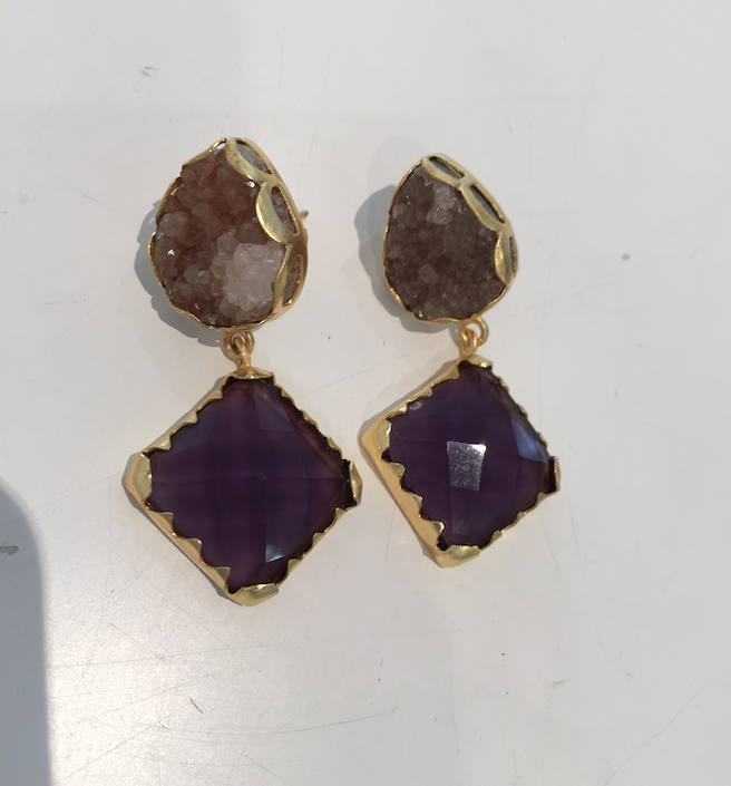 Stone Earrings- Gold with two drop