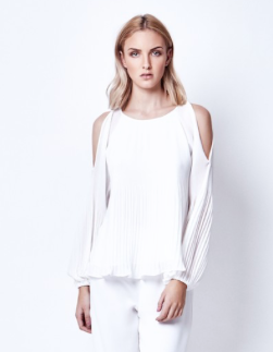 Open Shoulder Top Lily Pleat- Chalice
