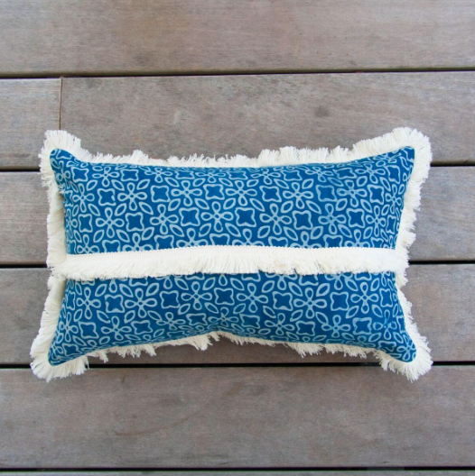 Block Print Fringe Rectangle Pillow