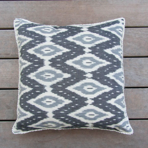 black and White Ikat Pillow