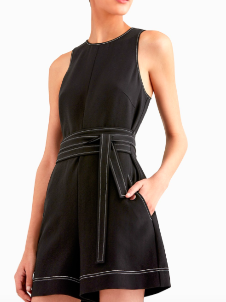 Double Tie Romper with Top Stitching Detail- GREY by Jason Wu