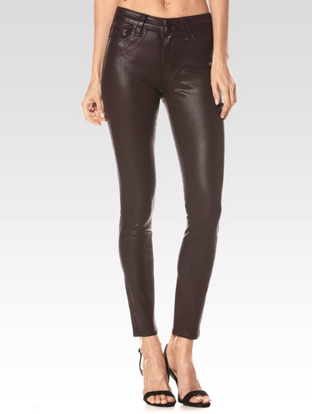 Black Silk Women Jeans, worn by a female model with black high-heel shoes