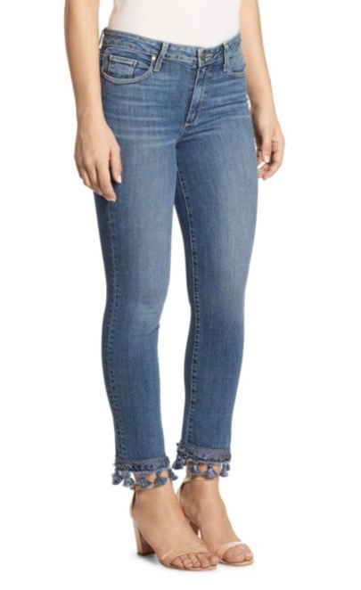 Female model wearing Jaquline Staright Indigo Tassel Women's Jeans