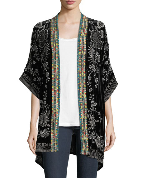 Okinowa Embroided Velvet Kimono- Johnny Was