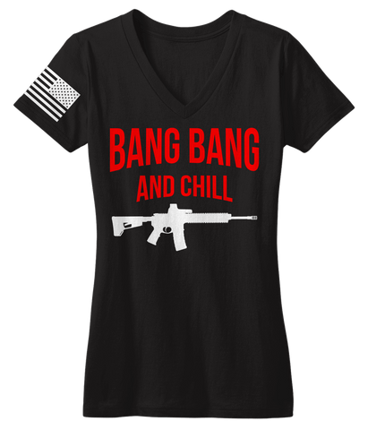 Bang Bang & Chill Black V-Neck