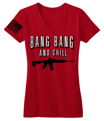 Bang Bang & Chill Red V-Neck