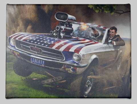 Ronald Reagan Riding In A Mustang