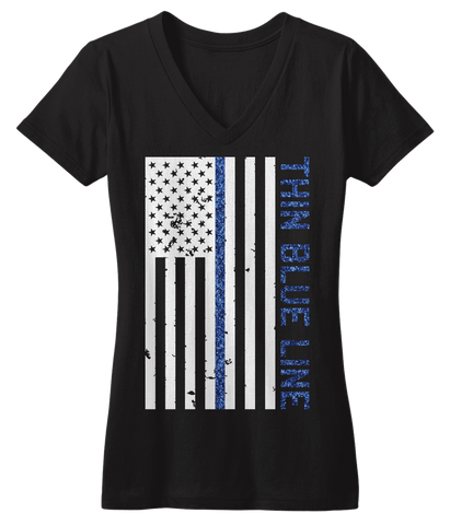 Thin Blue Line Sparkle V-neck