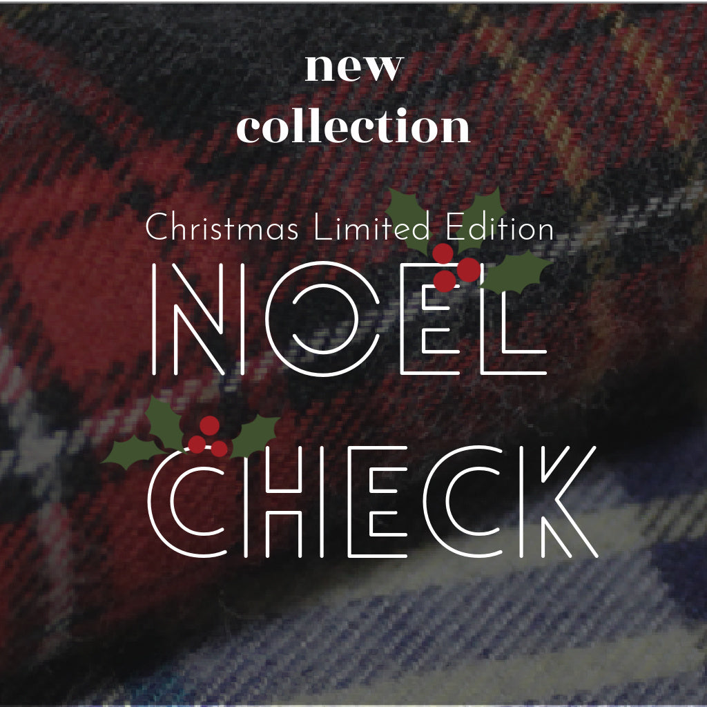 christmas limited edition product called the noel check collection picture with a gingham/tartan fabric that we use for the collection as a background picture