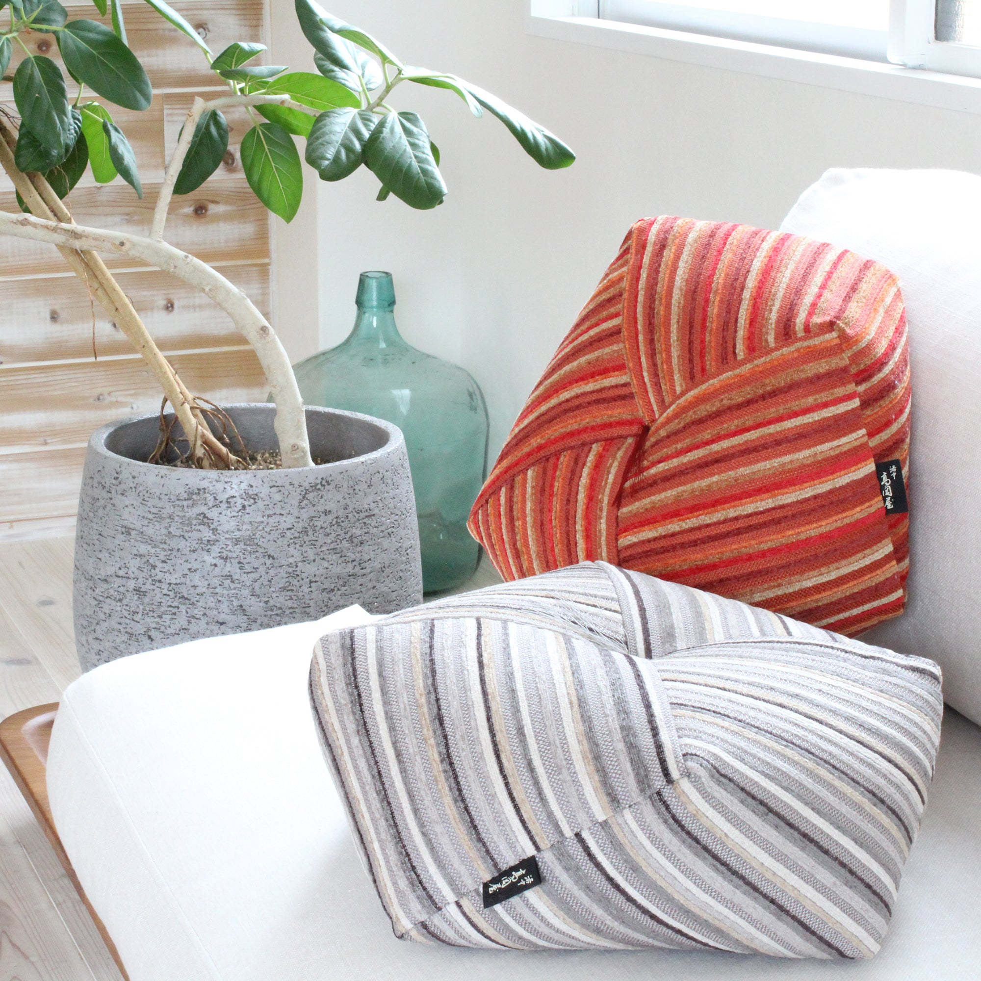 Ojami cushion | Graph | Fabric with casual stripe - Takaokaya