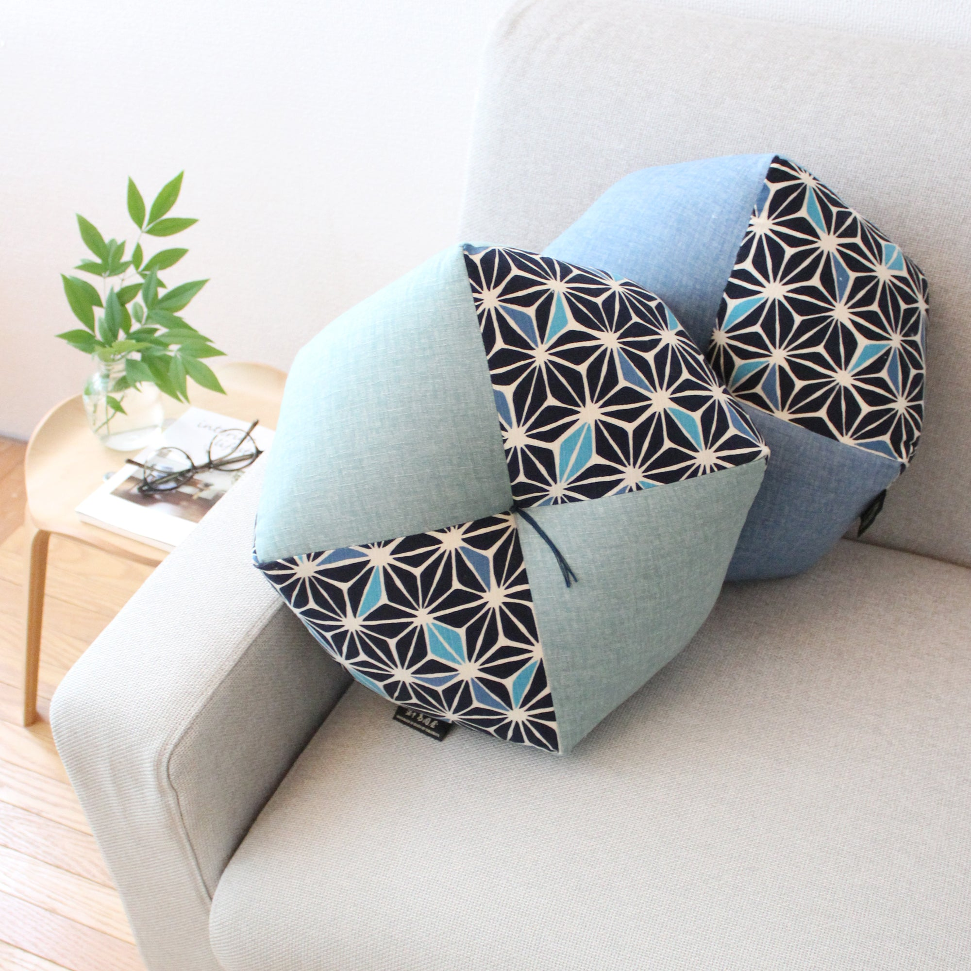 Ojami Cushion | Cotton | Asanoha (Traditinal Japanese Pattern) | Online Store Limited - Takaokaya