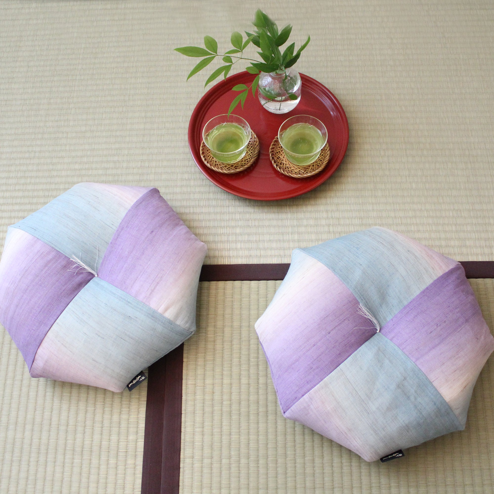 Ojami Flat (Thicker type)  | Hikizome(Linen) | Kamogawa Blue and Arashiyama Bamboo Green | Cushion, Seat, Chair - Takaokaya