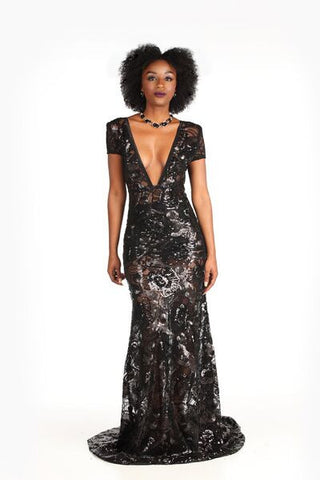 Sequin Embellished Tulle Short Sleeve Gown - Nate Hutson Collection