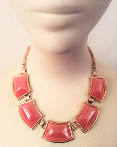Coral and Gold Tone Chain Link Necklace - Nate Hutson Collection
