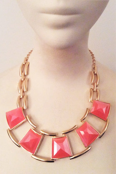 Shaped Peach and Gold Tone Chain Link - Nate Hutson Collection