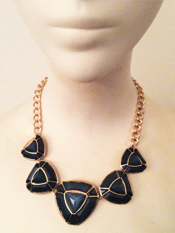 Green and gold tone triangle necklace - Nate Hutson Collection