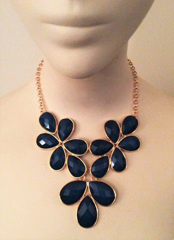 Flower Petals Gold Tone Chain Link Necklace - Nate Hutson Collection