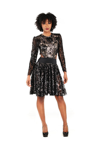 Sequin Embellished Tulle Circle Skirt - Nate Hutson Collection