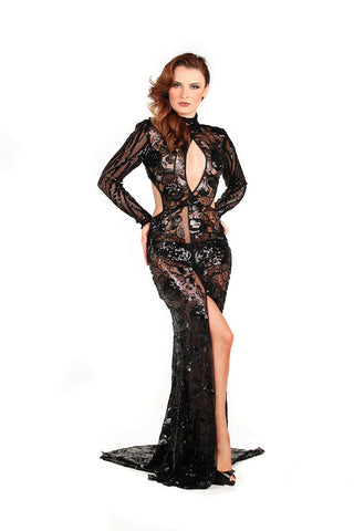 Sequin Embellished Tulle Gown - Nate Hutson Collection
