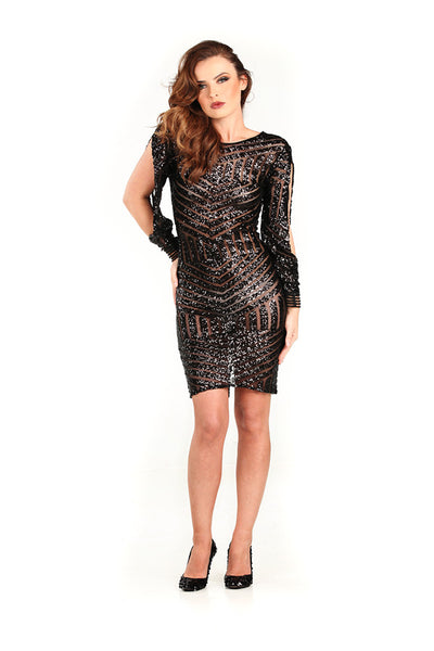 Black Sheer Sequin Dress - Nate Hutson Collection