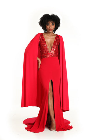 Red Caped Gown - Nate Hutson Collection