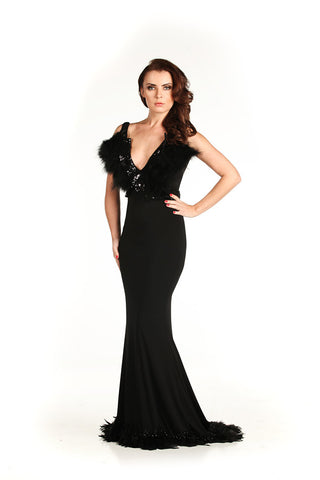 Feathered V Neckline Gown - Nate Hutson Collection