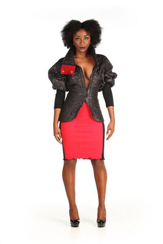 Jersey Color Blocked Pencil Skirt - Nate Hutson Collection
