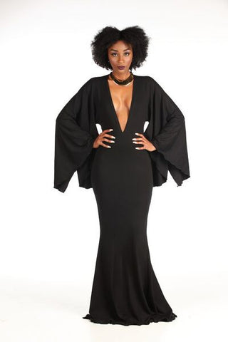 Ponte Knit Cape like Sleeves, Gown - Nate Hutson Collection