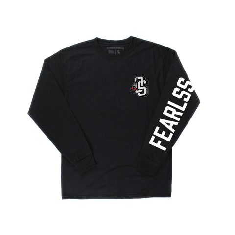 Embroidered OS Fearlss | Black Long Sleeve T-shirt