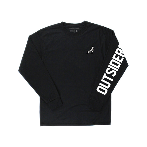 Embroidered Pigeon Mascot | Black Long Sleeve T-shirt