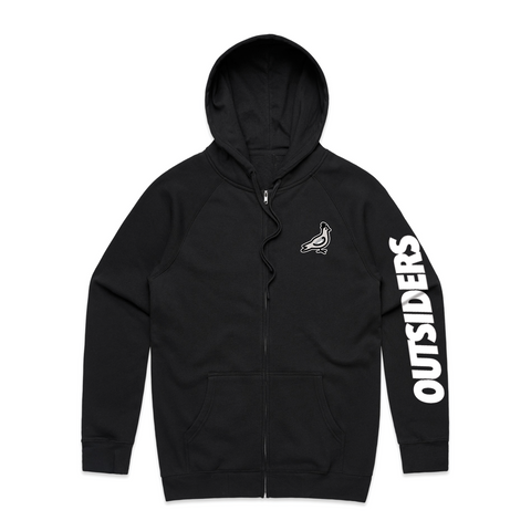 Embroidered Pigeon Mascot | Black Zip-Up