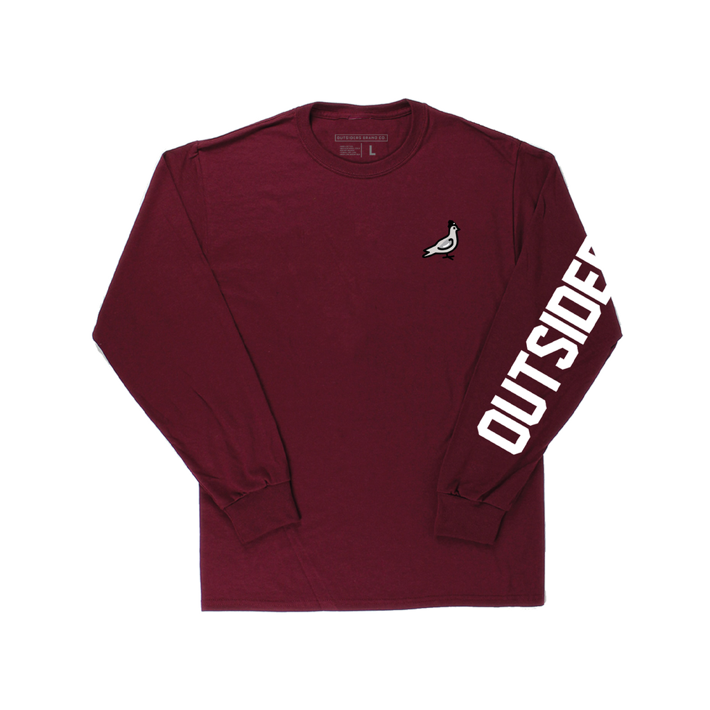 Embroidered Pigeon Mascot | Burgundy Long Sleeve T-shirt