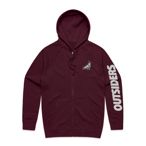Embroidered Pigeon Mascot | Burgundy Zip-Up