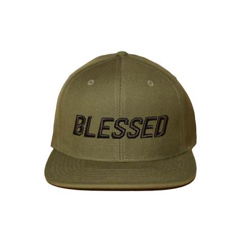 Blessed - Dark Green - Woven Snapback