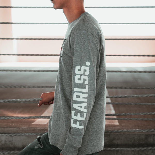 Embroidered OS Fearlss | Gray Long Sleeve T-shirt