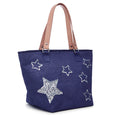 Beach Bag Stars - Navy Medium