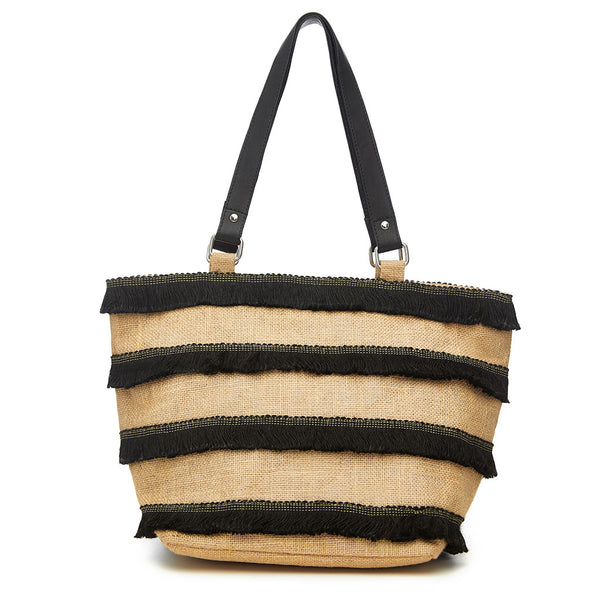 Striped Fringe Tote - Medium