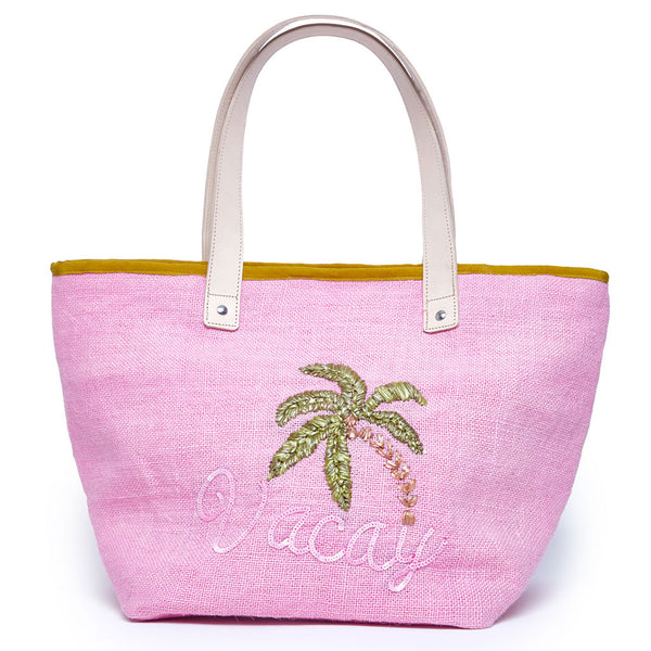 Beach Bag - Pink Jute 'VACAY' Palm