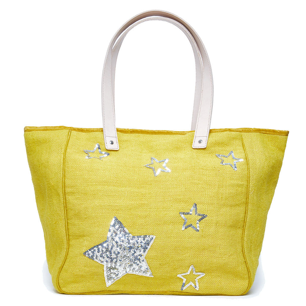 Beach Bag Large - Yellow Sequin Stars