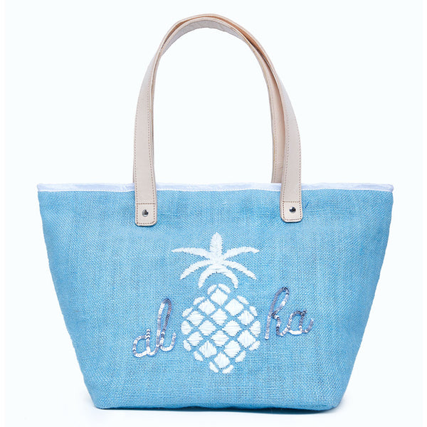 Beach Bag - Pineapple 'ALOHA' Blue