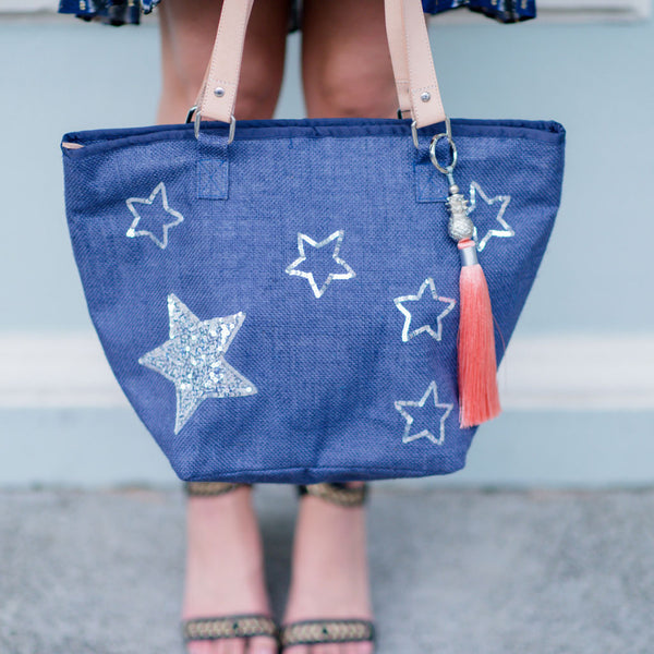 Navy Stars Tote - Medium