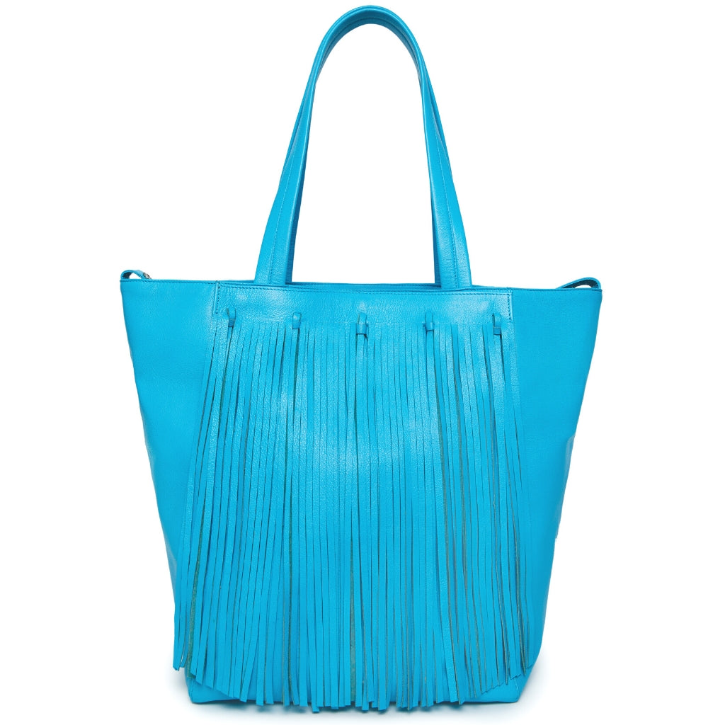 Finlay Fringe Tote - Sky Blue